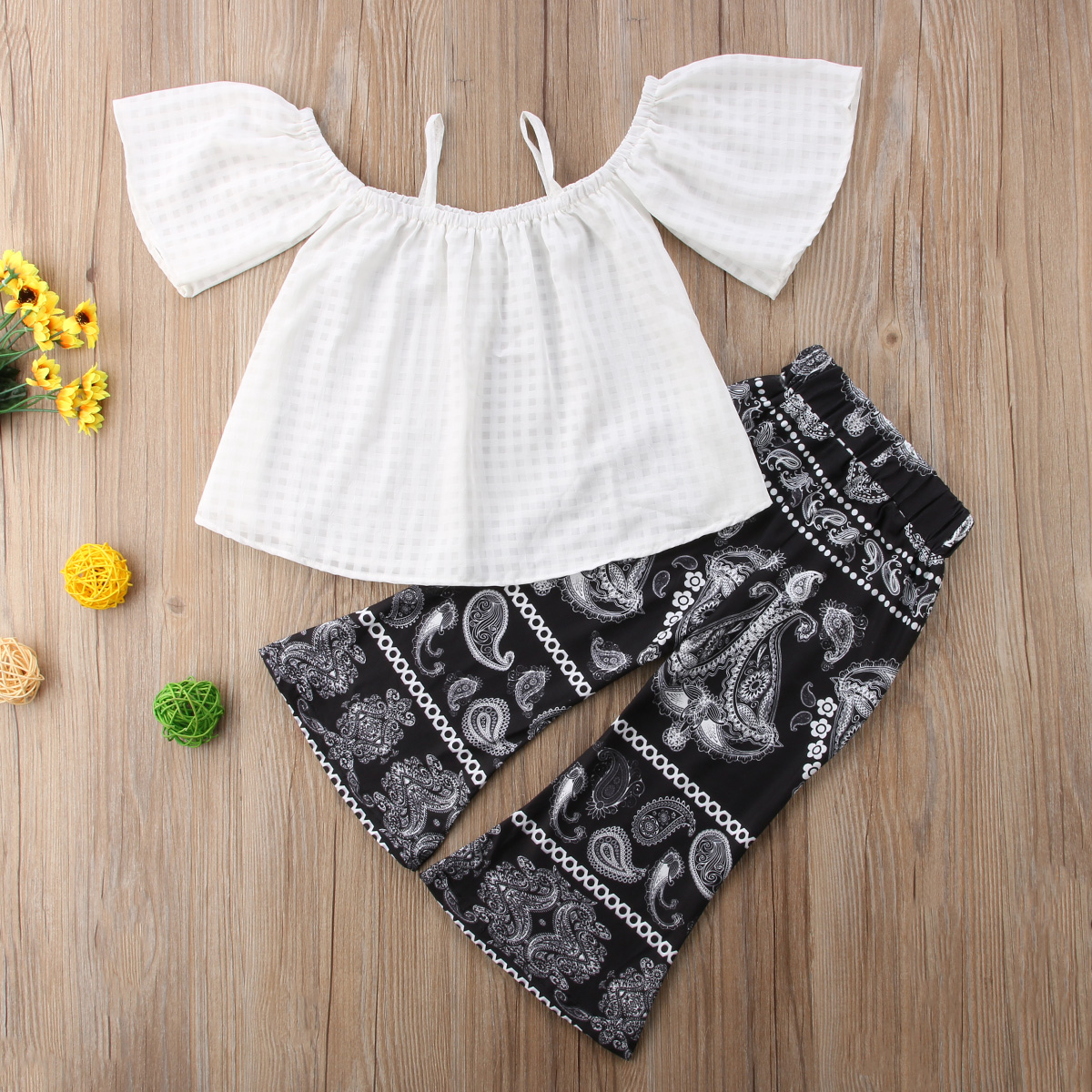 Kids Baby Girl White Strap Off Shoulder Tops Wide Leg Long Flared Bell Bottom Pants Outfits Summer Print Retro Clothes Set