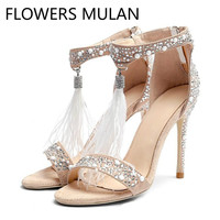 Luxury Brand White Suede and Hot Fix Crystal Embellished Sandals with An Ostrich Feather Tassel One Buckle Peep Toe Ladies Shoes