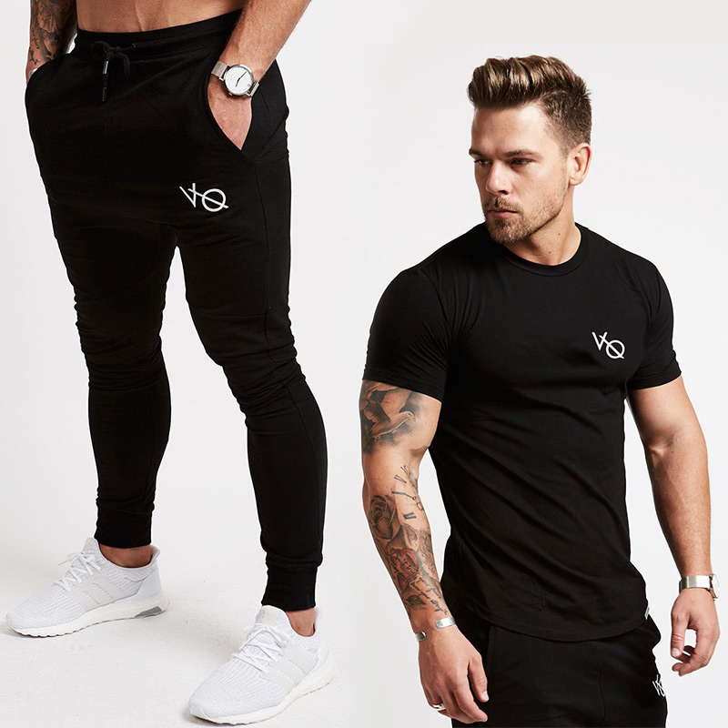 KORKSLORES Joggers Sets Men Short Sleeve T Shirt Gyms Top+Pants Mens Sets 2018 New Causa ...