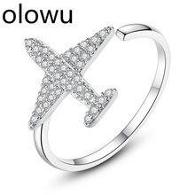 Olowu крошечные блестящие AAA кубического циркония самолет Открытие Кольца для женщин девочек Серебряный тон Кристалл Регулируемые кольца вечерние Bijoux