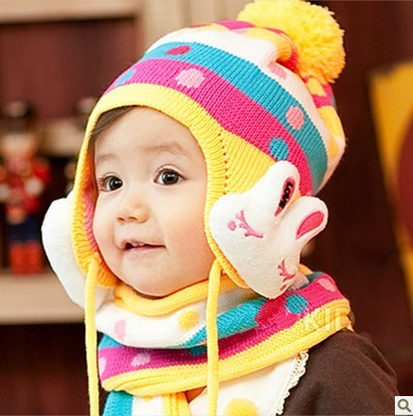 Free Shipping,2013 New 1-7 Years Old Children's Rabbit Hat Scarf,Baby Winter Warm Knitted Cap Scarf,multicolor, Wholesale