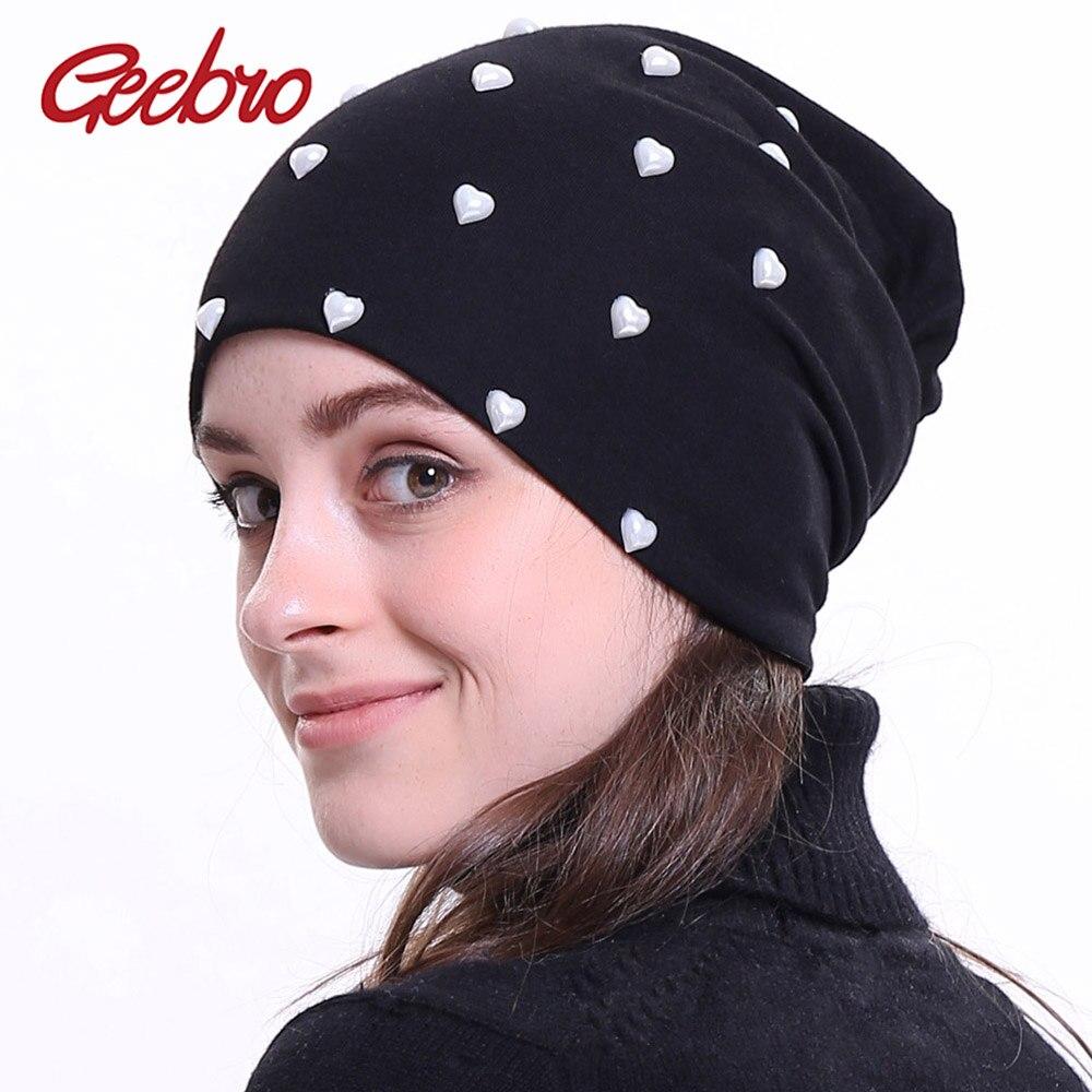 Geebro 2018 New Women's   Beanie   Hat Autumn Heart Pearl Slouchy   Skullies     Beanies   for Female Womens Plain Balaclava Bonnet DQ845A