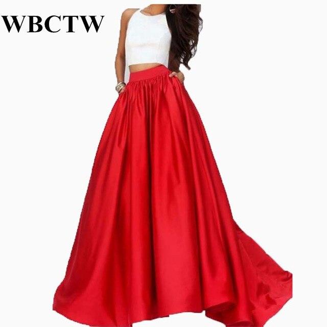 de70b9f0166a WBCTW Jupe Longue Femme Taille Haute Solide Élégant Rouge Jupes Haut Bas  Mode Maxi Longue Jupe