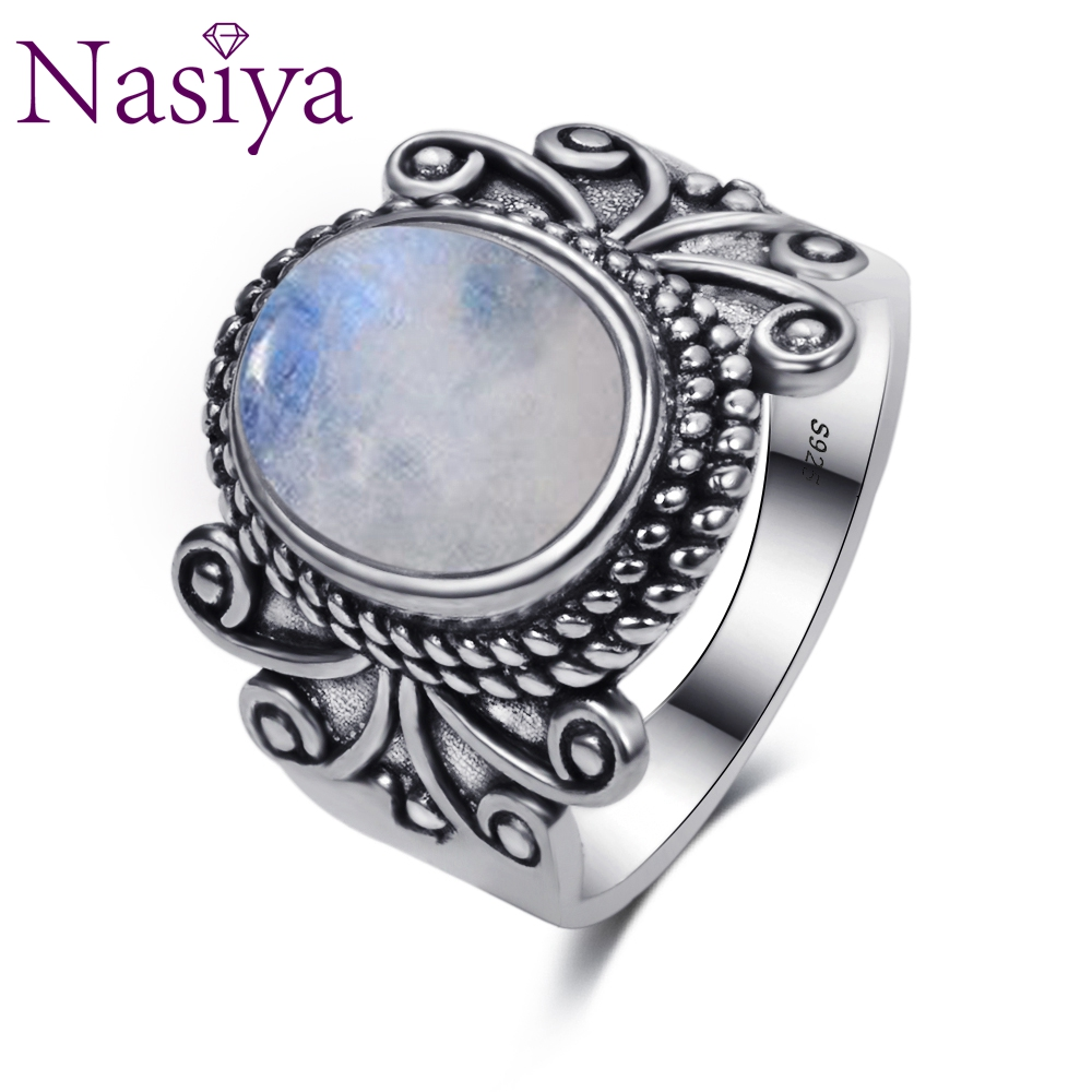 Nasiya Antique Silver Rings Oval Natural Rainbow Moonstone Rings For Women 925 Silver Jewelry For Party Wedding Birthday Gift