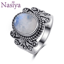 Nasiya Antique Silver Rings Oval Natural Rainbow Moonstone For Women 925 Jewelry Party Wedding Birthday Gift