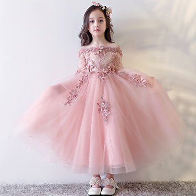 Luxury Girls Evening Dress Off Shoulder Pink Ball Gown Dresses for girl Half Sleeve Appliques Birthday Party Costume JF305 недорго, оригинальная цена