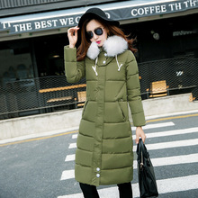 Brand quality woman long down coat fur collar army green Warm Cotton-padded Wool long Coat Down & Parkas for women XXXL Black