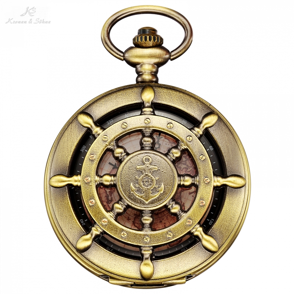 KS Retro Bronze Boat Rudder Anchor Pattern Case Map Analog Relogio Fob Key Pendant Clock Chain Mens Quartz Pocket Watch /KSP106