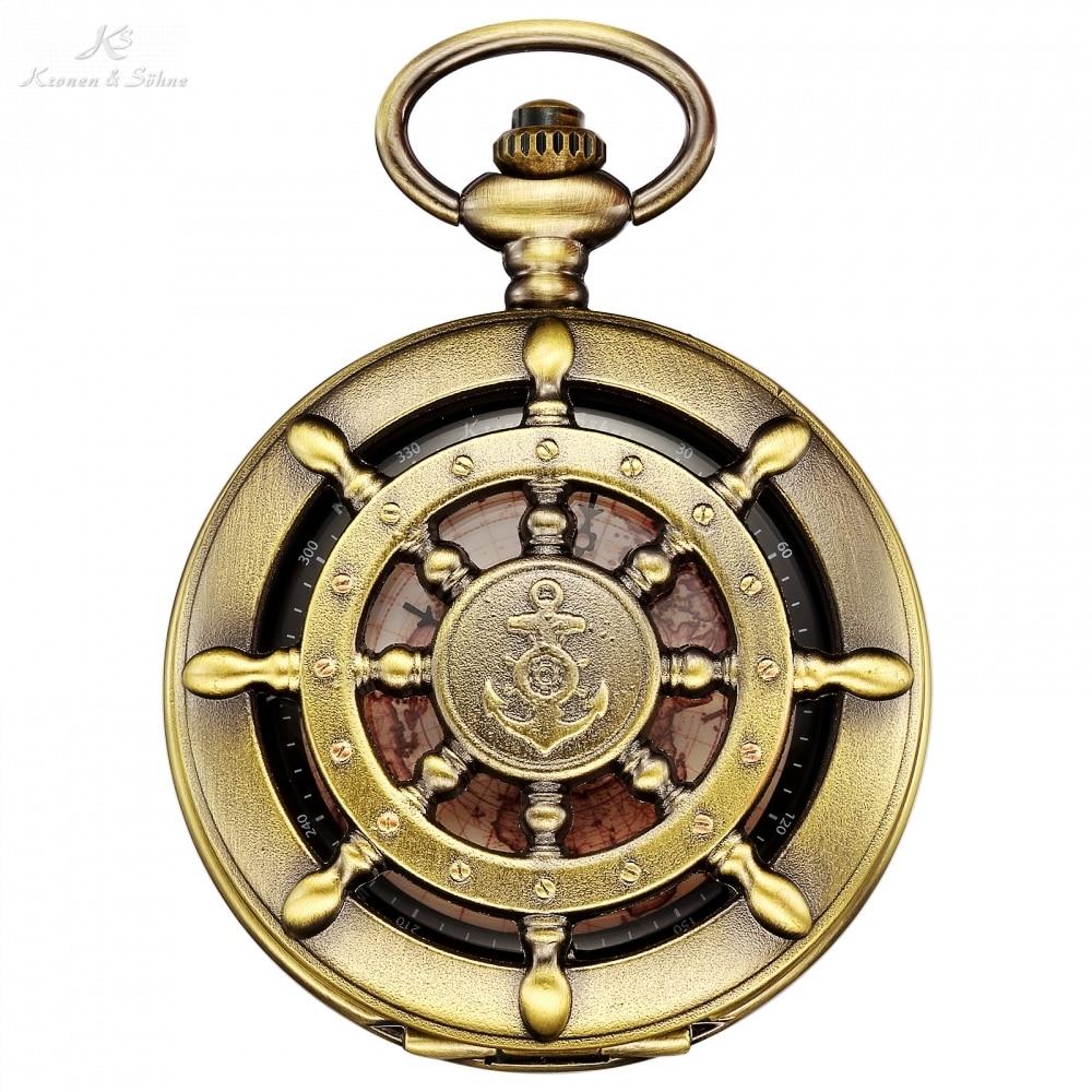 KS Retro Bronze Boat Rudder Anchor Pattern Case Map Analog Relogio Fob Key Pendant Clock Chain Mens Quartz Pocket Watch /KSP106