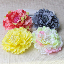 Hair Accessory Fabric Peony Big Flower Corsage Brooch Full Dress Work Wear Hat Flower Wedding Party Hair Clip Bridal