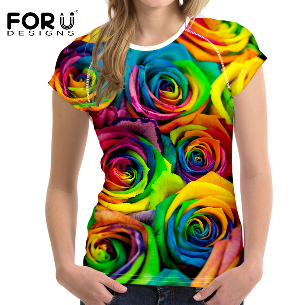 FORUDESIGNS 3D Bright Floral Rose T Shirt Wanita Pretty Brand Clothes Kasual Kasual Tees Blusa Plus Size Perempuan O Neck T-shirt girl