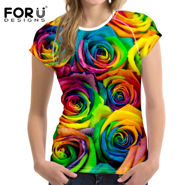 Forudesigns 3d floral brilhante subiu t shirt mulheres bonitas roupas de marca Casual Tops Tees Blusa Plus Size Feminino O Pescoço T-shirt da menina