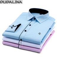 DUDALINA 2017 New Classical Dress Shirt Male Shirt Men Spring Autumn Long Sleeve Solid Twill Formal