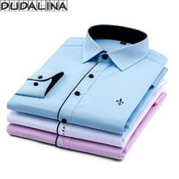 DUDALINA 2017 New Classical Dress Shirt Male Shirt Men Spring Autumn Long Sleeve Solid Twill Formal