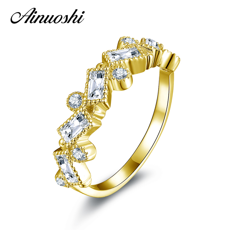 AINUOSHI 10K Solid Yellow Gold Wedding Ring Round Cut Rectangle Sona Simulated Diamond Band Women Engagement Rings Fine Jewelry ainuoshi 10k solid yellow solid gold luxury wedding ring 2 carat round cut simulated sona diamond jewelry women engagement rings