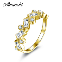 100% 10K Yellow Gold Hotting Sale Sona Synthetic Simulated Diamond Engagement Wedding Ring Jewelry Ring ainuoshi 10k solid yellow gold women engagement ring sona diamond jewelry top quality butterfly shape joyeria fina femme rings