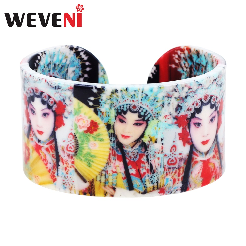 WEVENI Plastic Chinese Peking Opera Actress Painting Bangles Bracelets Fashion Vintage Craft Jewelry For Women Girls Ladies Gift