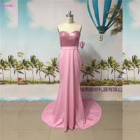 Long Mermaid Prom Dress Sequined With Sash Sweetheart Floor Length With Short Train Rose Pink Prom Gown