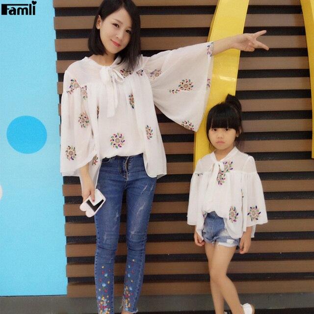 d348e313f706 Famli 1pc Mother Daughter Matching Printed Blouse Family Mom Baby Kids  Twinning Spring Fall Full Sleeve Shirt Dress
