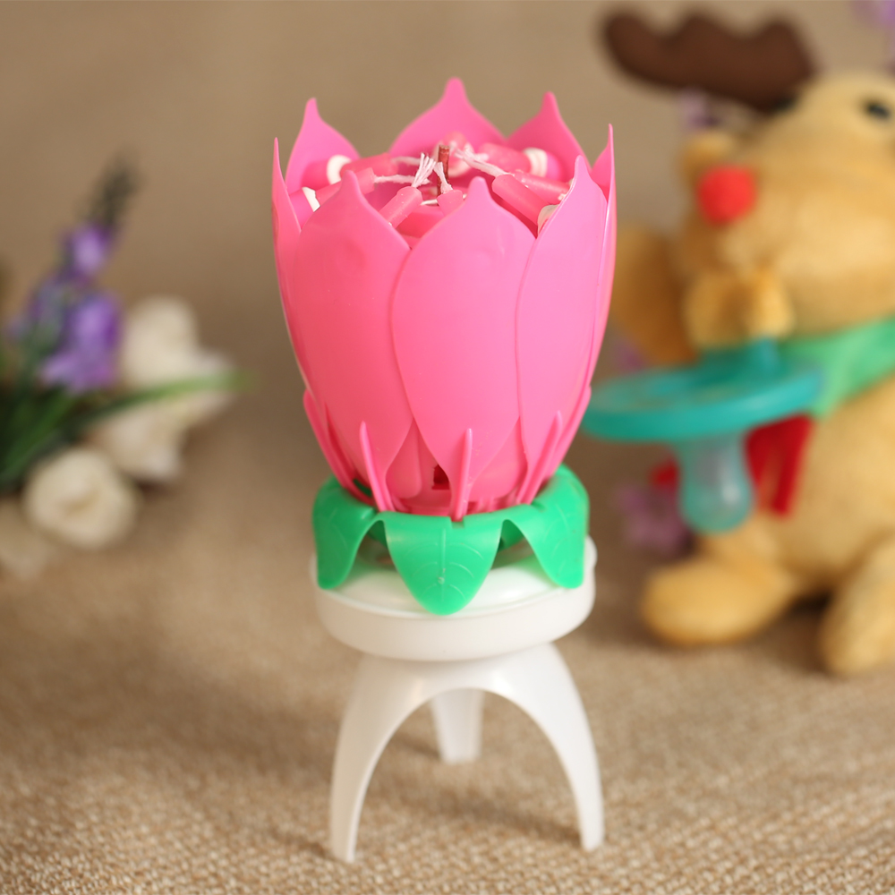 Lotus flower candle with birthday melody sarahsale package list branded carton izmirmasajfo
