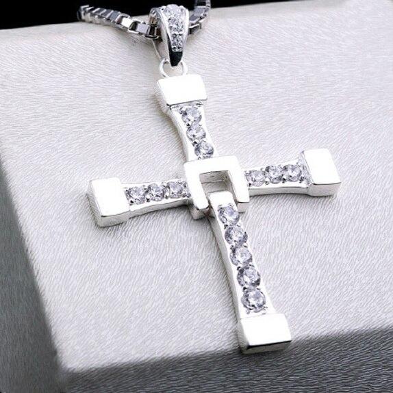 Collier pendentif croix en argent 925 massif, collier croix en argent Sterling avec pierres précieuses, bijoux croix brillants