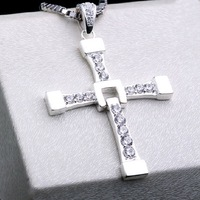 925 Silver Cross Pendant Necklace Pure Sterling Silver Gem Studded Cross Necklace Fashion Cute Shiny Cross