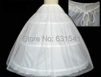 New stock white bridal 3-hoops crinoline white petticoat skirt slip Underskirt Bridal Gowns Exquisite A Line slip