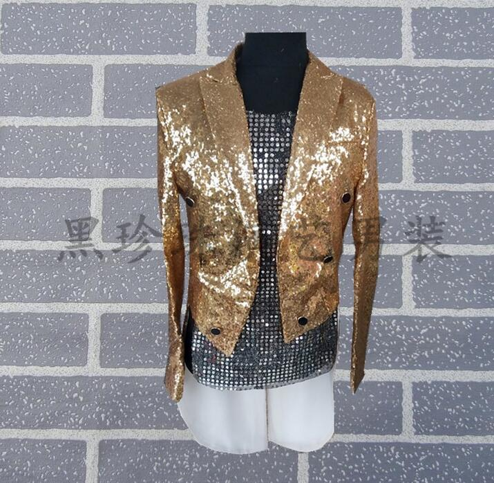 Men Magic Tuxedo Suits Masculino Homme Stage Costumes For Singers Men Sequin Blazer Dance Clothes Jacket Star Style Dress Gold