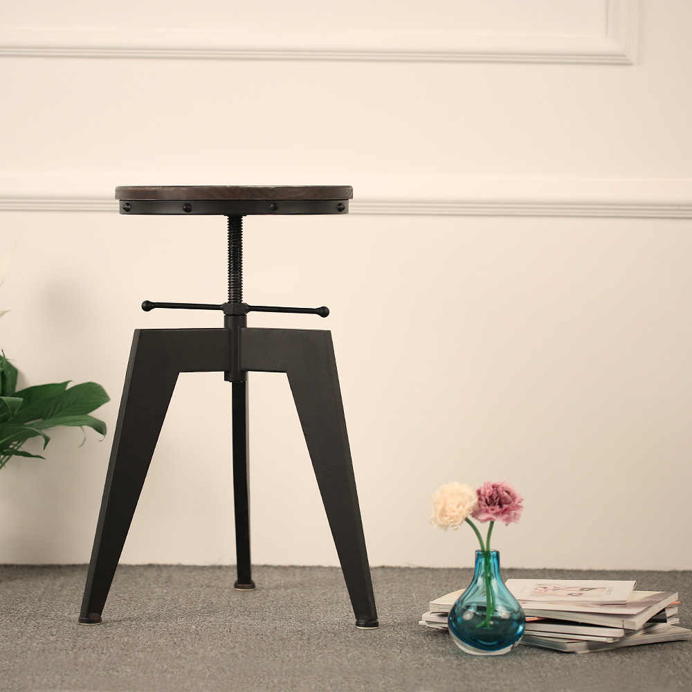iKayaa Industrial Style Bar Stool Modern Bar Stool Natural Pine Wood Top Swivel Dining Chair Height Adjustable US FR DE Stock