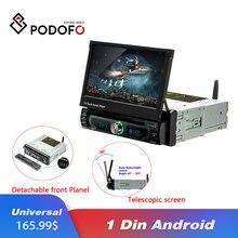"""Podofo 1din Android 7 """"Universale Auto Lettore DVD di Navigazione GPS Per Auto Bluetooth Stereo Radio Lettore Audio FM Auto Multimedia lettore"""