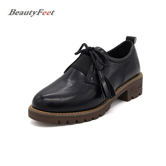 BeautyFeet New Small Leather Women Shoes Woman 2017 Fall Lace Up Square Med  Heels Students Casual 70c8dedf36dc