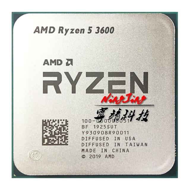 Ryzen-Processador AMD 6-Core, 5 3600 R5 3600, 3.6GHz, CPU doze threads, 7NM 65W L3 = 32M, 100-000000031, tomada AM4, novo mas sem ventilador 2