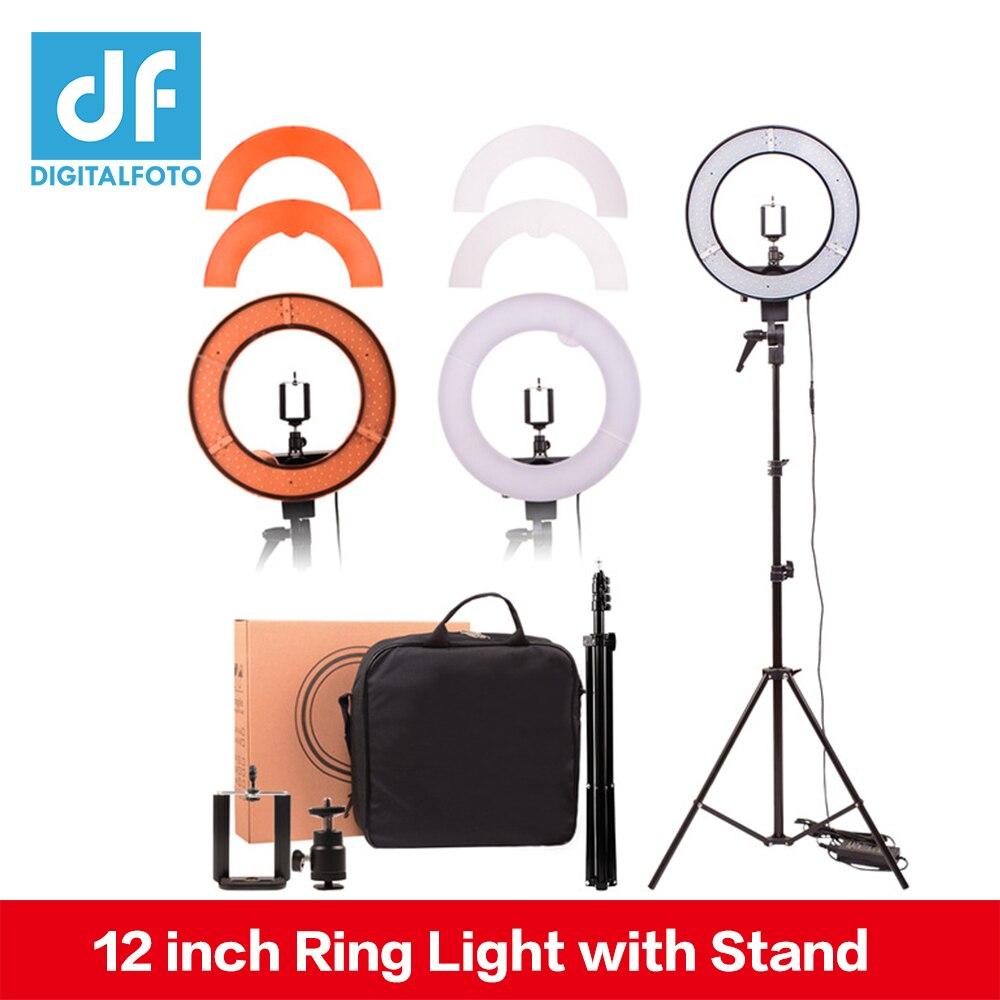 "Helder Digitalfoto 12 ""35 W 240 Pcs Led Ring Light 5500 K Dimbare Warm/koud Foto/studio/ Telefoon/video Youtube Make Lamp Kapper"