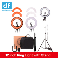 DIGITALFOTO 12 35W 240pcs LED Ring Light 5500K Dimmable Warm/Cold Photo/Studio/Phone/Video Youtube Makeup lamp barber shop