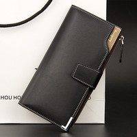 Hot Sale Quality Soft Leather Men Wallets Business Leisure 3 Folds Hasp Zipper Credit Card Holder