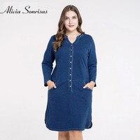 Plus Size 4XL 5XL Denim Dress For Women Spring Summer Single Buttons Long Jeans Denim Dresses ZPZ443