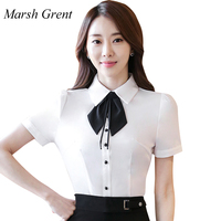 Marsh grent Women Blouses Fashion Bow Short Sleeve Work Casual Tops Shirts White Blue red Vintage Blusas New Chiffon blouse
