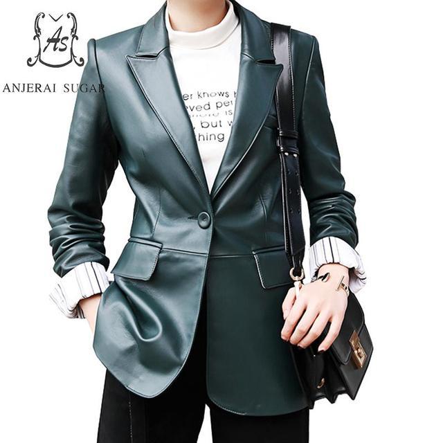 Sheepskin genuine leather jacket women coat female OL Office Turn-down Collar suit atrovirens sexy Single Button chaqueta mujer