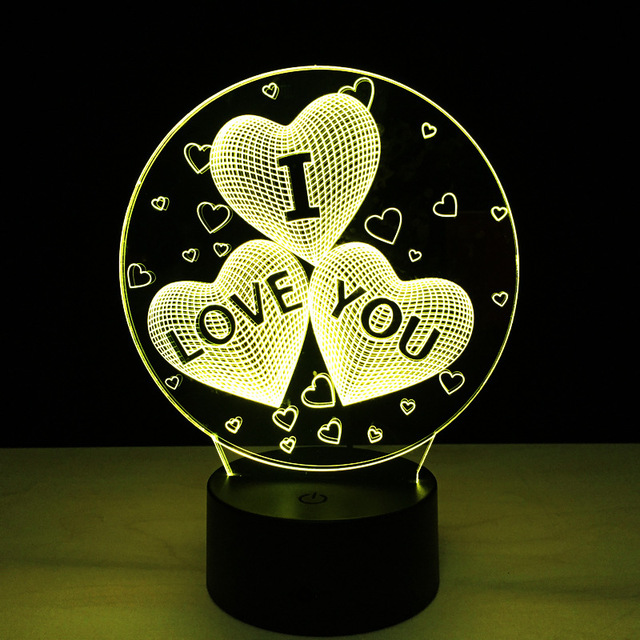 I Love You Romantic 3D Lamp for Valentine's Day