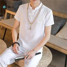 LOLDEAL Summer T-shirt Casual Breathable Short-sleeved + Pants Chinese Style Mens Fashion Set