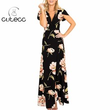 Vintage women summer BOHO floral print split A-line dress short sleeve high waist deep V-neck chiffon belt maxi vestidos party