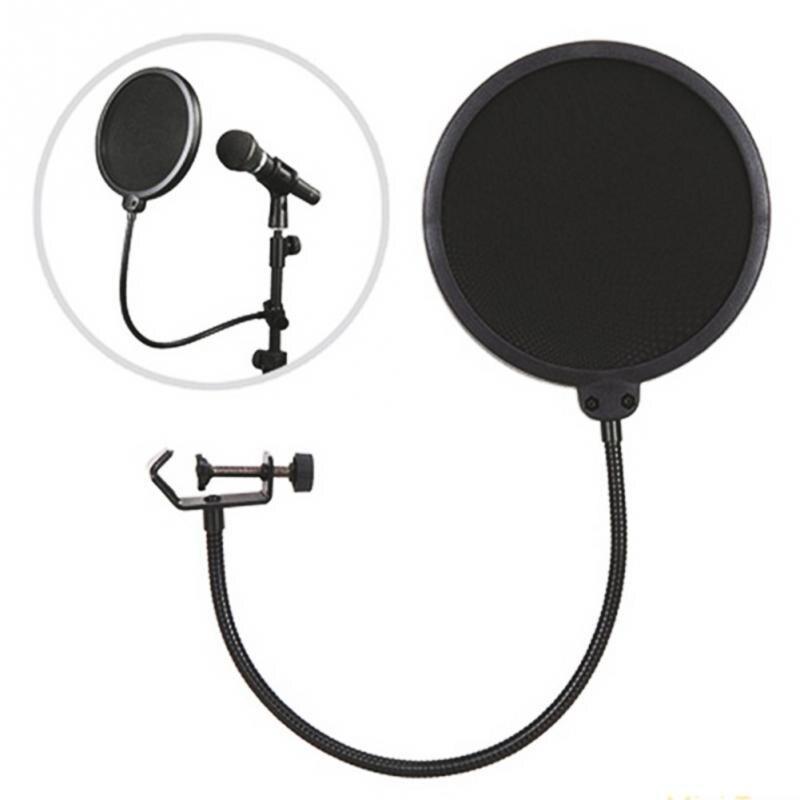 Nuevo Profesional MPF-6 6 pulgadas abrazadera del micrófono Pop filtro doble capa de grabación Dual pantalla malla parabrisas Studio