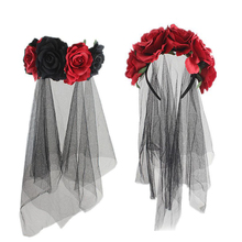 1pc Dress Up Headband Halloween Rose Decor Veil Makeup For Festival Carnival Party