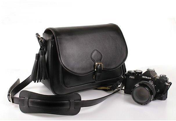 Prix pour Imperméable PU En Cuir Noir DSLR SLR Camera Case Sac Pour Nikon Canon Sony Fuji Pentax Olympus Leica En Plein Air Sac Photo sac