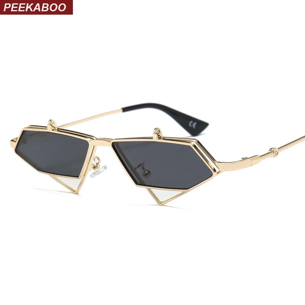 Peekaboo gold steampunk flip up sonnenbrille männer vintage rot metall rahmen dreieck sonne gläser für frauen 2019 uv400