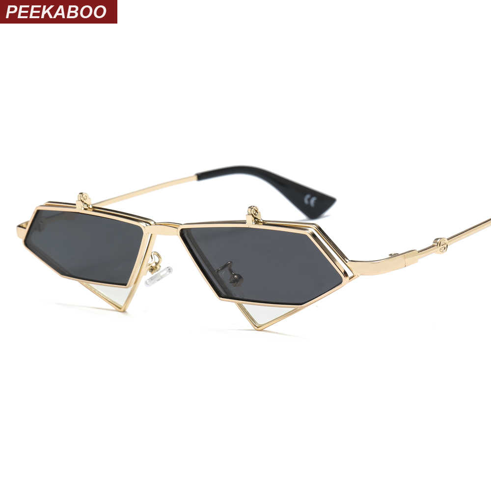 d3240ad4873 Peekaboo gold steampunk flip up sunglasses men vintage red metal frame triangle  sun glasses for women