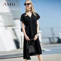 Amii Women Office Lady 2018 Summer Dress Elegant Ruffles V Neck Female Dresses