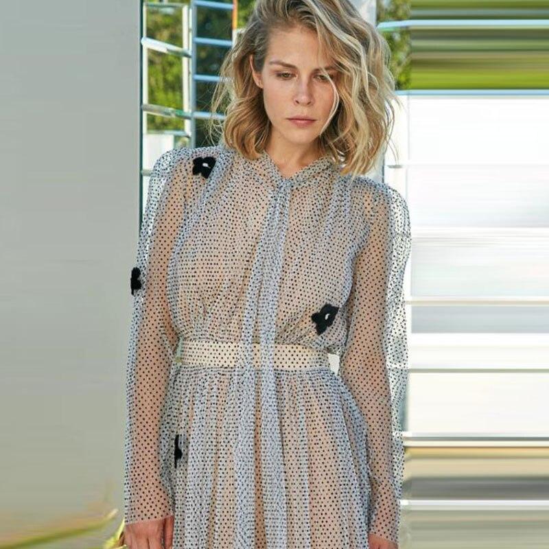 XF Clemence Poesy robe à pois 2019 été haute qualité femmes Milan Designers Catwalk mode Sexy fête Midi robes nouveau