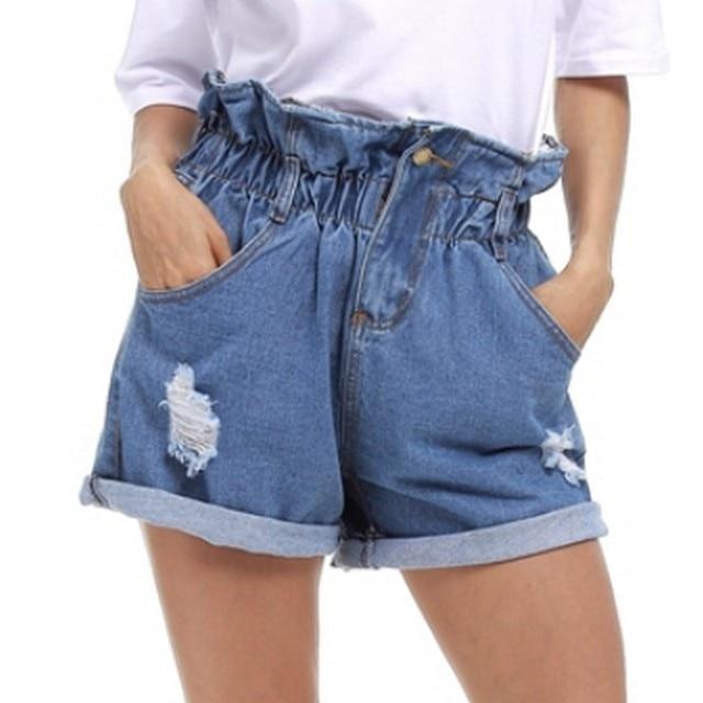 Nuevo agujero de curling Denim Shorts mujeres 2017 verano Corto Feminino Pantalones Cortos de cintura alta Pantalones Vaqueros Feminino plus size 5XL Pantalones Vaqueros Cortos FL410