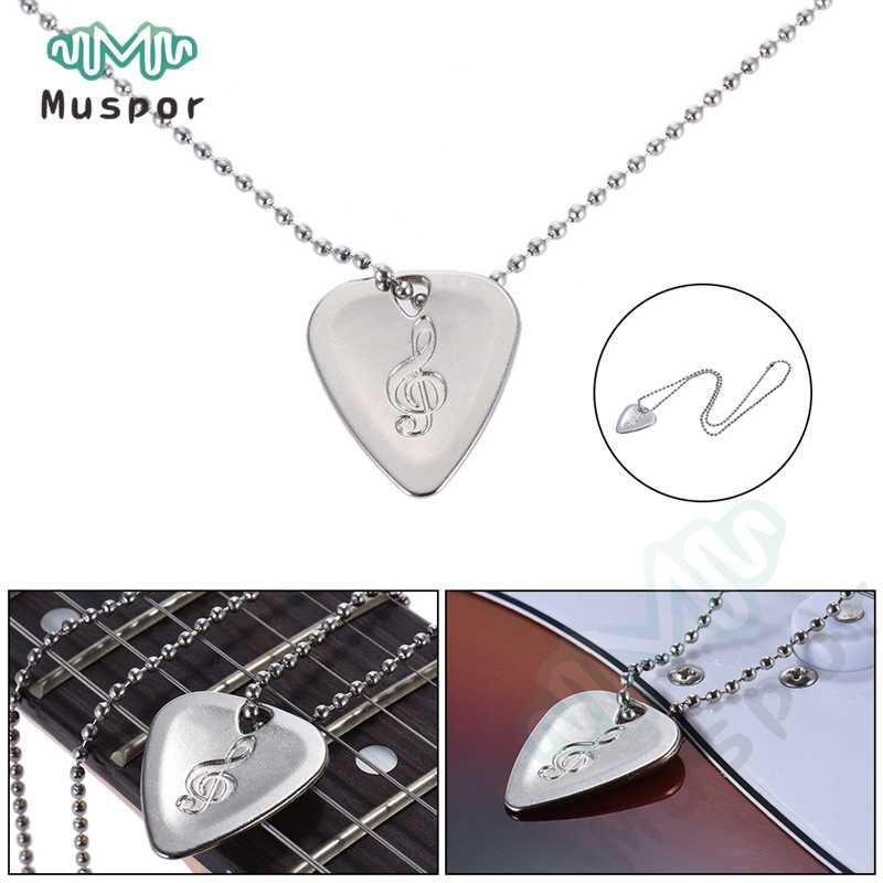 Electric Guitar Bass Pick Necklace Metal with 50cm/ 20inch Ball Chain